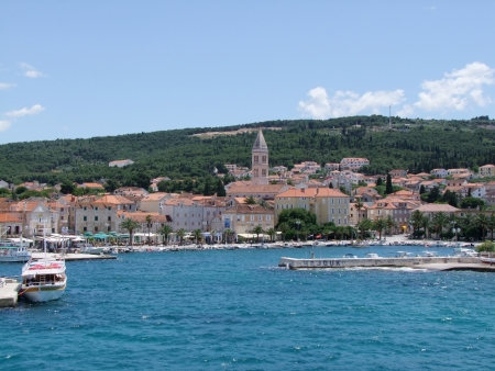 brac: Supetar on the island brac in croatia - harbour Stock Photo