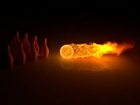 powerful bowling strike 스톡 콘텐츠