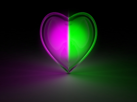 glowing crystal heart photo