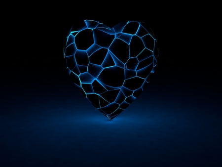 luminance: glowing pieces of heart Stock Photo