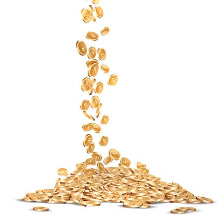 vallende vijf gemarkeerde gouden munten