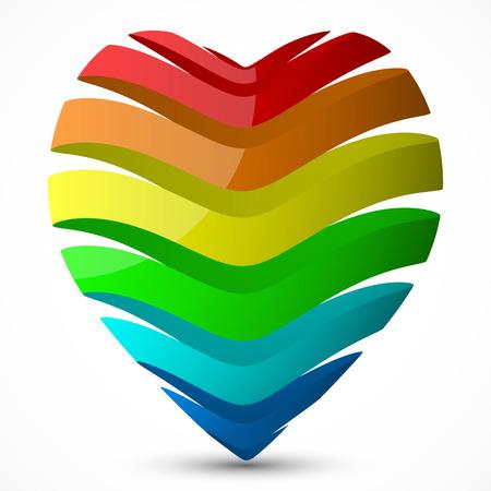 ester: day valentines heart design.(multicolor ribbon style)