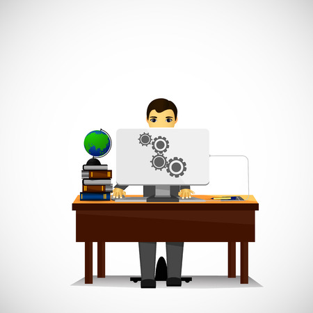 person sitzend: eine Person sitzt auf Computer Illustration