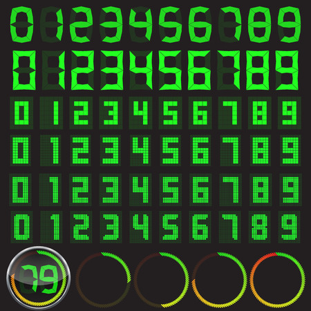 six digital numbers set in different styles and basic clock body with circular level indicator. Illustration