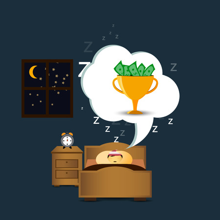 sleeping person.dreaming prize Illustration