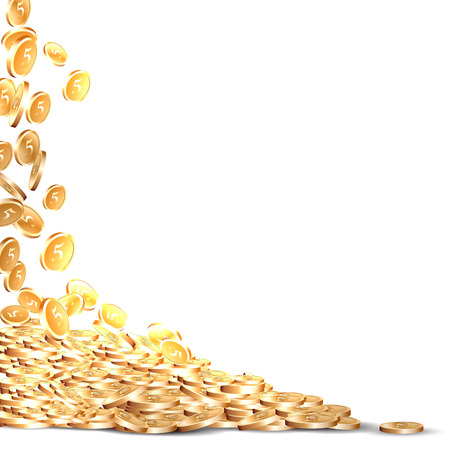 falling five marked golden coins Vectores