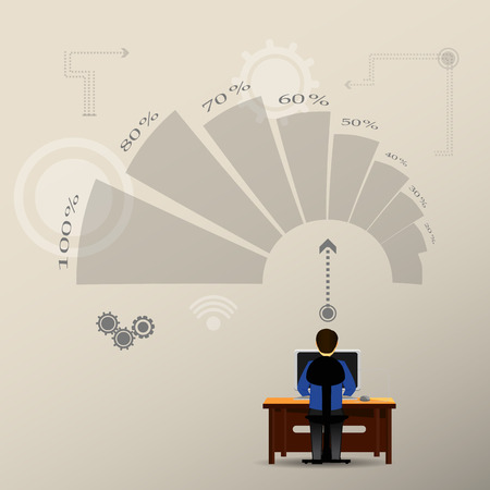 rear view: rear view of office worker and bended graphic Illustration