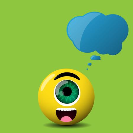 speech cloud: cute cyclop character with speech cloud