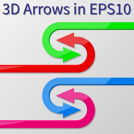 u turn: 3d vector arrows U turn