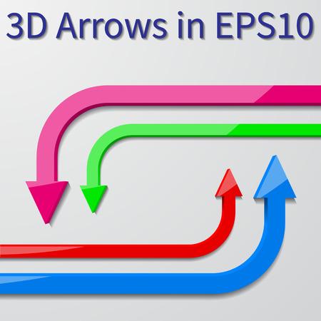 vector arrows: 3d vector arrows 90 degree Illustration