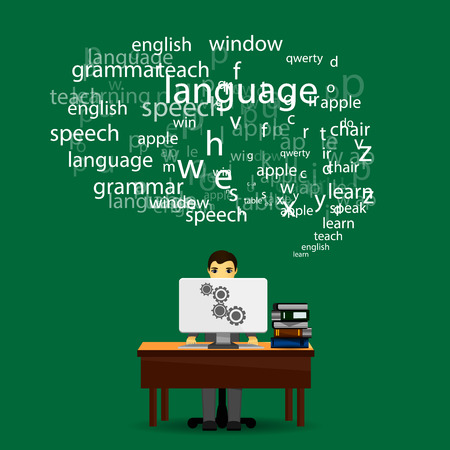 language learning infographic on green background