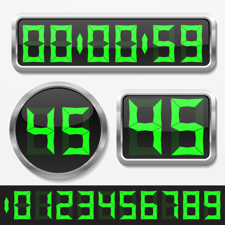 digital clock: digital numbers and basic clock body shapes set.( stylish gren numbers and silver body version) Illustration