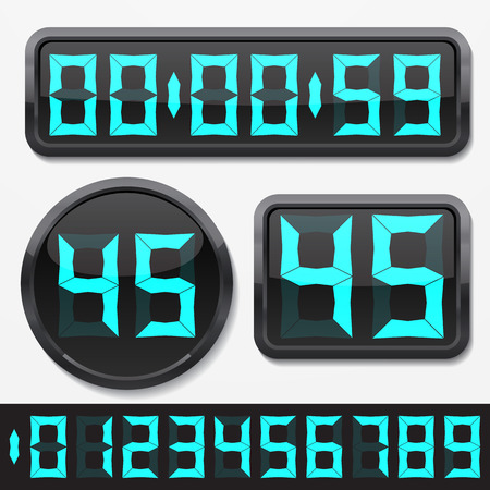 digital numbers and basic clock body shapes set.(stylish cyan numbers and shiny plastic body version)