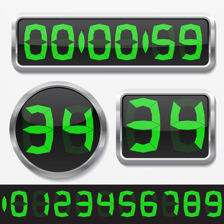 basic shapes: digital numbers and basic clock body shapes set.(fat style gren numbers and silver body version)