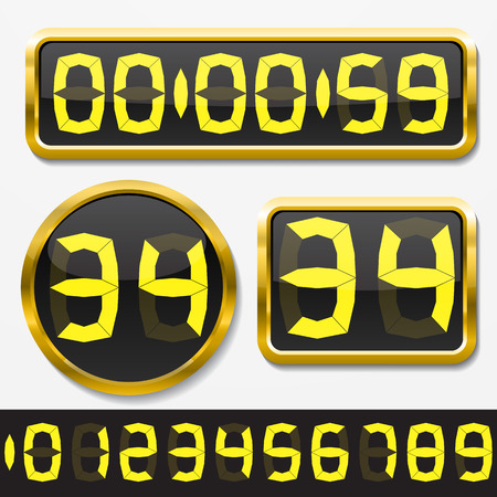 digital clock: digital numbers and basic clock body shapes set.(fat style yellow numbers and golden body version)