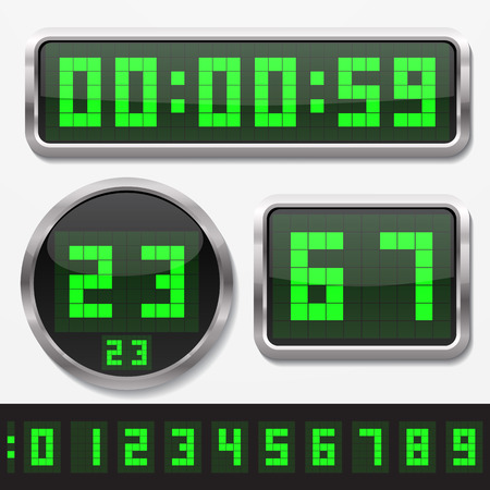 digital clock: digital numbers and basic clock body shapes set.(dot style gren numbers and silver body version)