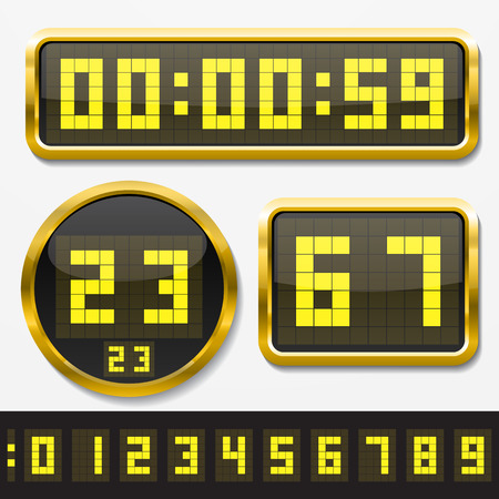 digital clock: digital numbers and basic clock body shapes set.(dot style yellow numbers and golden body version)