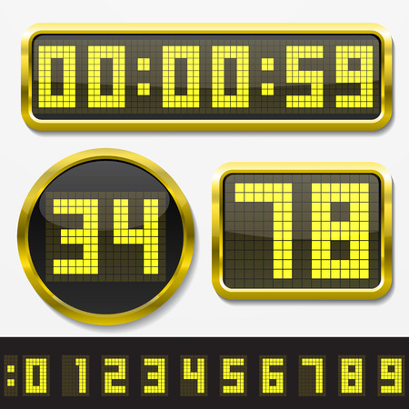 digital clock: digital numbers and basic clock body shapes set.(2x resolution dots style. yellow numbers and golden body version) Illustration