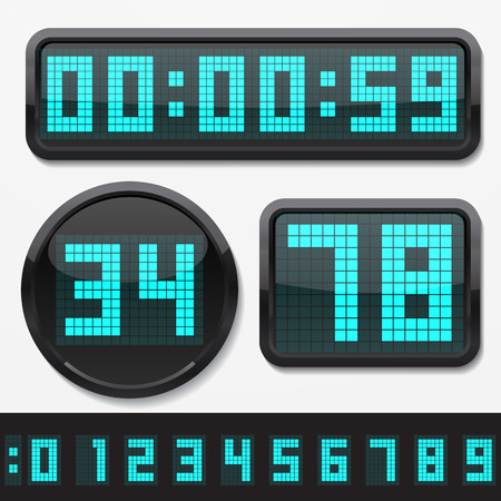 digital clock: digital numbers and basic clock body shapes set.(2x resolution dots style. cyan numbers and black body version) Illustration
