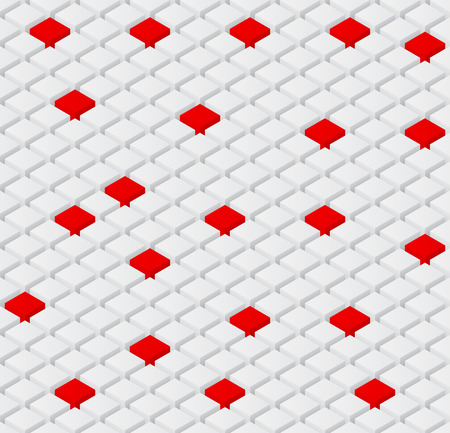 seamless vector background with isometric 3d white and red cubes