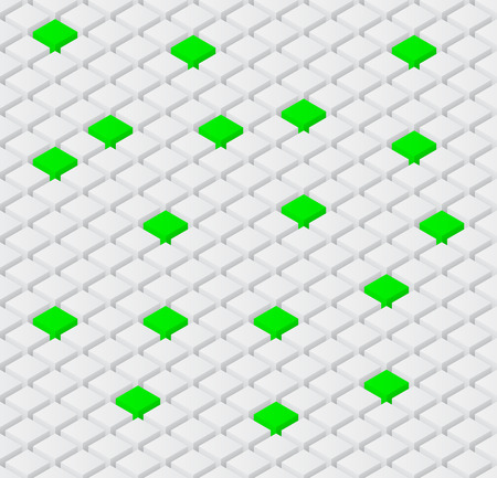 seamless vector background with isometric 3d white and green cubes Illustration