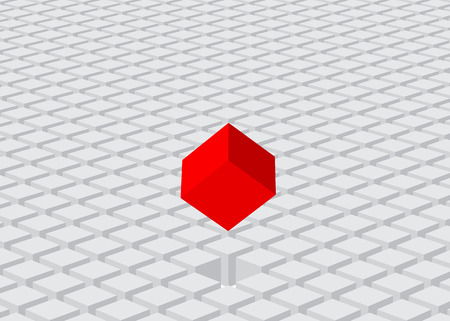 selected: land of cubes and selected red one Illustration