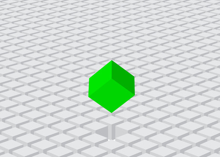 selected: land of cubes and selected green one