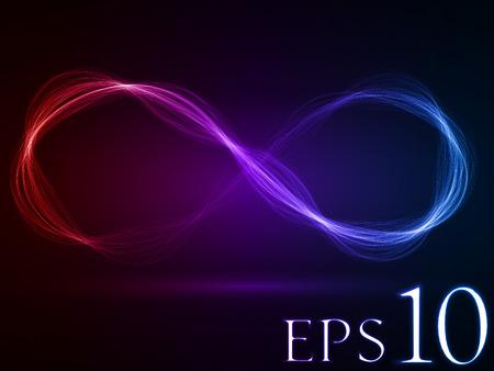 エネルギー波ループ (赤・紫・青の色幅の広い波バージョン)  イラスト・ベクター素材