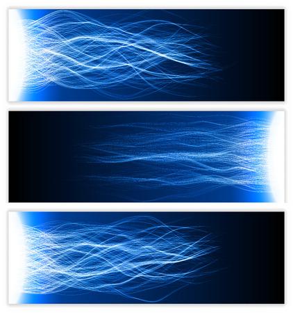 b�n�diction: banni�re avec des vagues d'�nergie de b�n�diction (bleu version couleur, vagues molles)