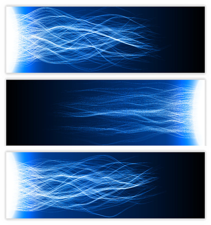 banner with blessing energy waves ( blue colored,soft waves version)