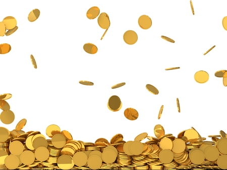 free falling golden coins.