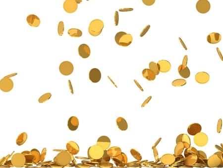 黄金のコインを自由落下。