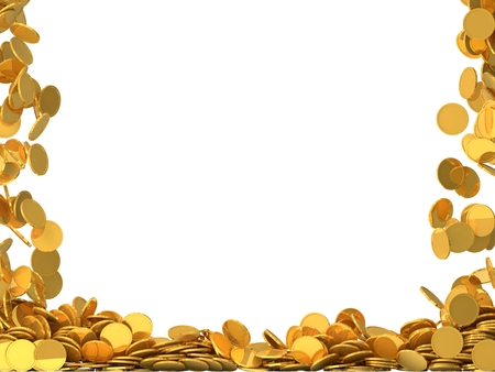 free fall: free falling golden coins.(two side fall version) Stock Photo