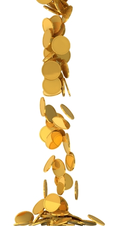 free fall: free falling golden coins.(central fall version) Stock Photo