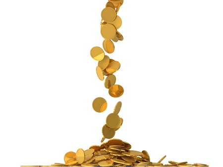 free falling golden coins.(central fall version) Stock fotó