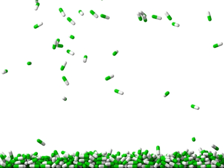 3d falling green colored pills rain. (filling the screen) Stock Photo