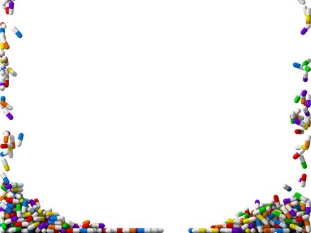 3 d の落下のランダムな着色された丸薬は雨します。(両側に画面を充填)