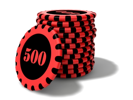 Rounded casino chips stack.(black and red colored and reflective version)