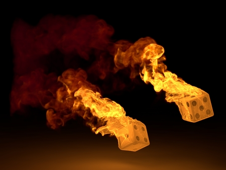 dices: burning dices throw(dual version) Stock Photo