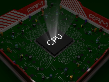 electronics parts: conceptual cpu and pc motherboard design.