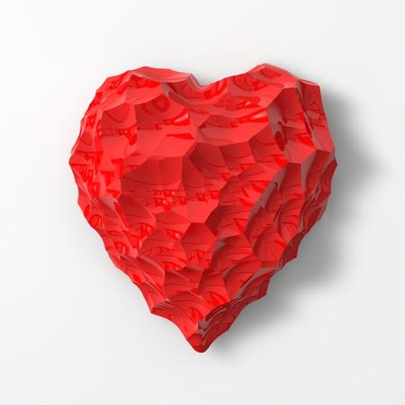 sized: red heart shaped gem illustration(small and medium sized cracks version) Stock Photo