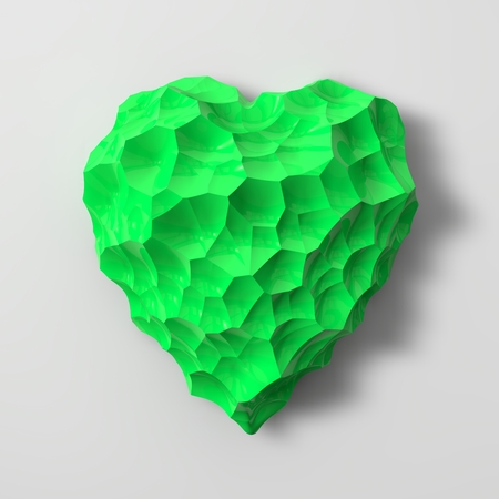 sized: green heart shaped gem illustration(small and medium sized cracks version) Stock Photo