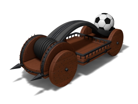 catapult: conceptual catapult design (charged with soccer ball) Stock Photo