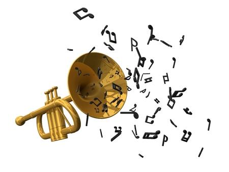 gouden trompet en bankbiljetten