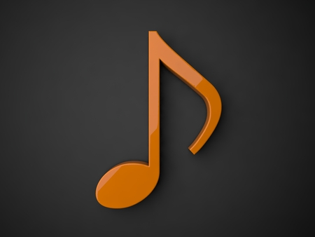 3d music: 3d music note.(orange colored.with reflection) Stock Photo