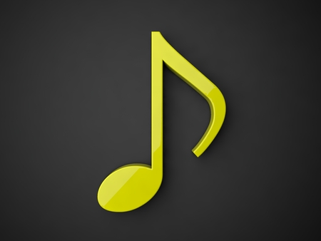 3d music: 3d music note.(yellow colored.with reflection)