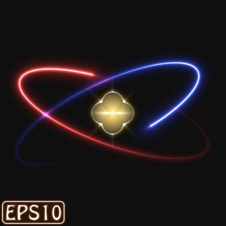 orbital: glowing atom model. (two electron version)