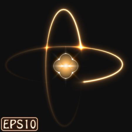 laser lights: glowing atom model. (two electron,golden version)