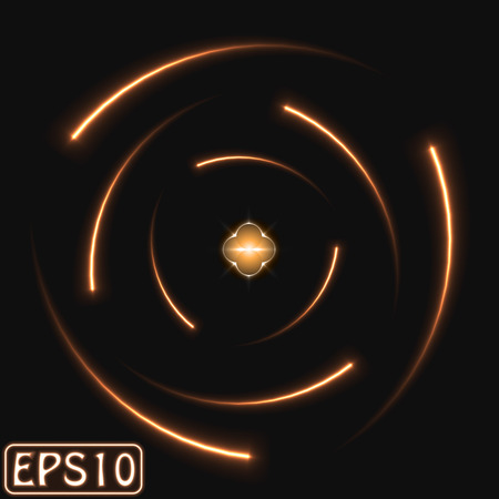 laser lights: glowing atom model. (nine electron version)