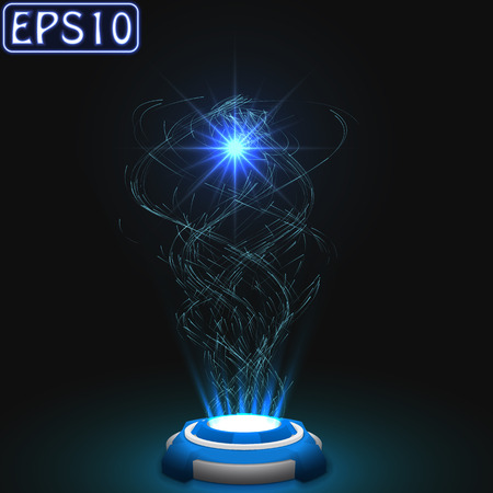 released energy particles swarm.(blue version) Vector